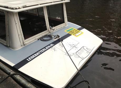 Stickers op salonboot