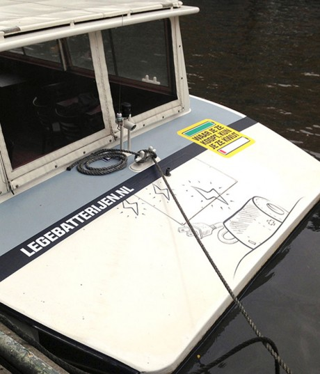 Stickers op salonboot